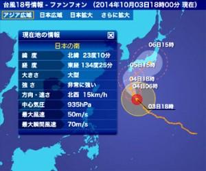 台風18号進路予想図