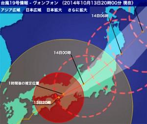 台風19号 今後の進路予想図 拡大図 2014年10月13日